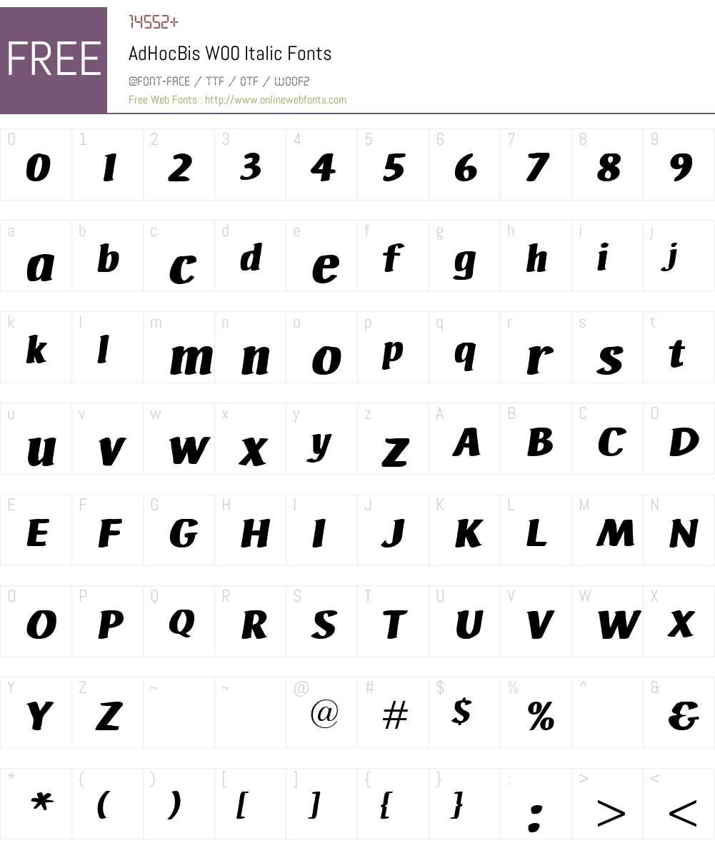 AdHocBisW00-Italic Font Screenshots