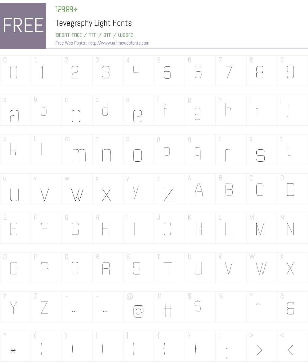 Tevegraphy Font Screenshots