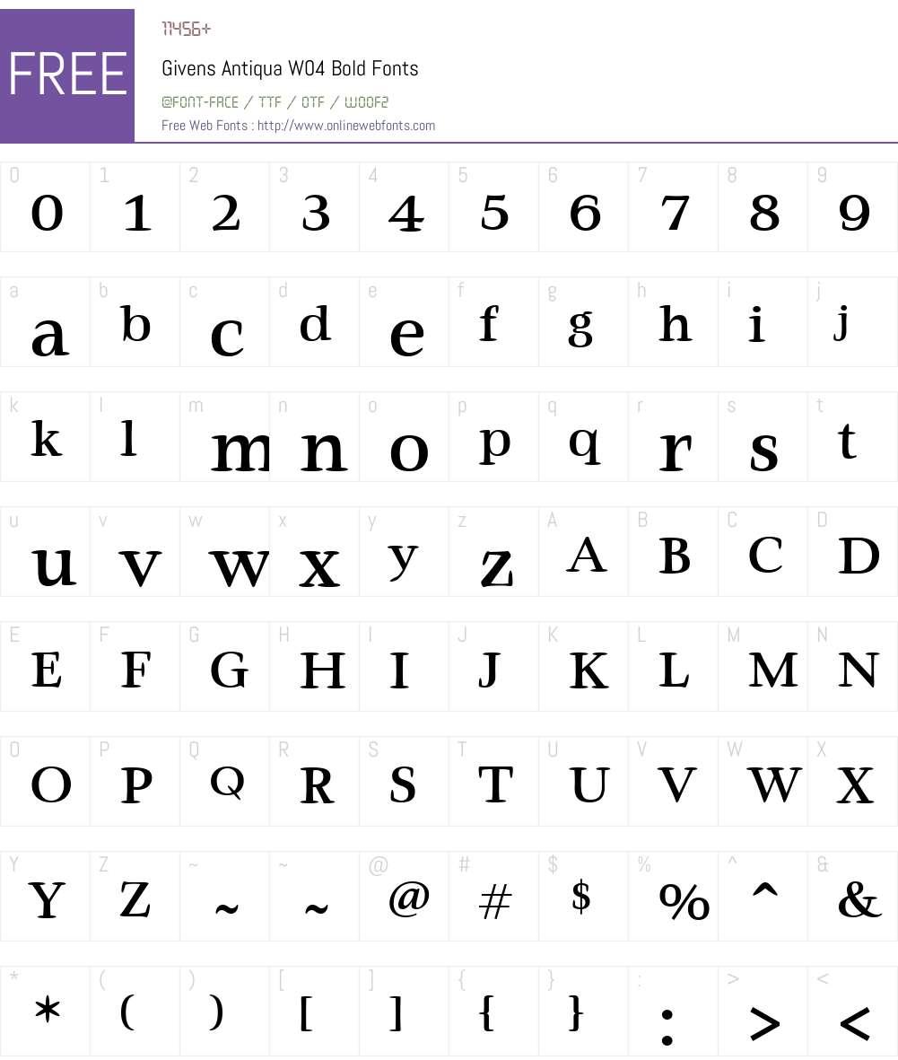 Givens Antiqua Font Screenshots