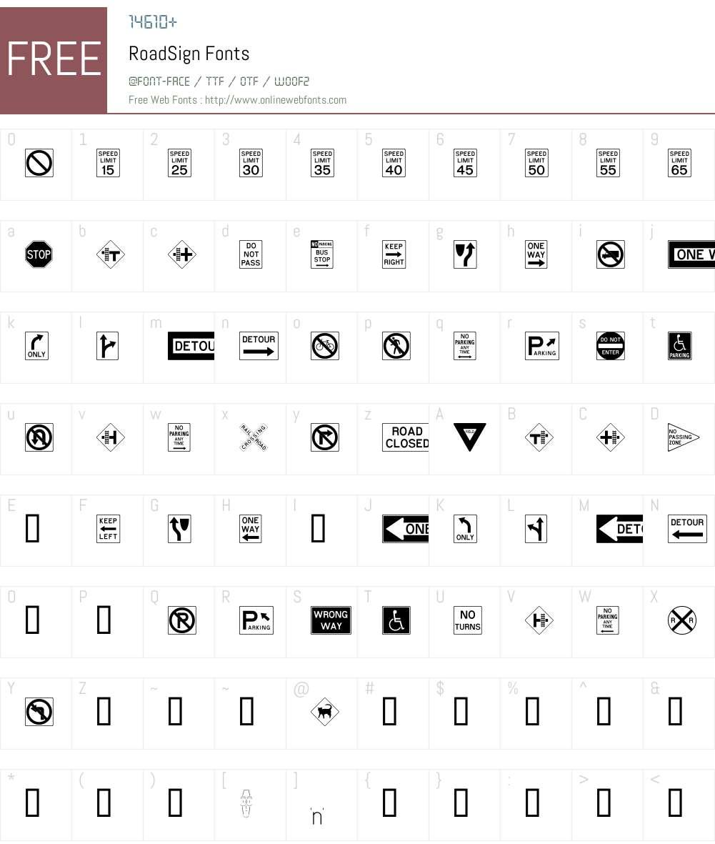 RoadSign Font Screenshots