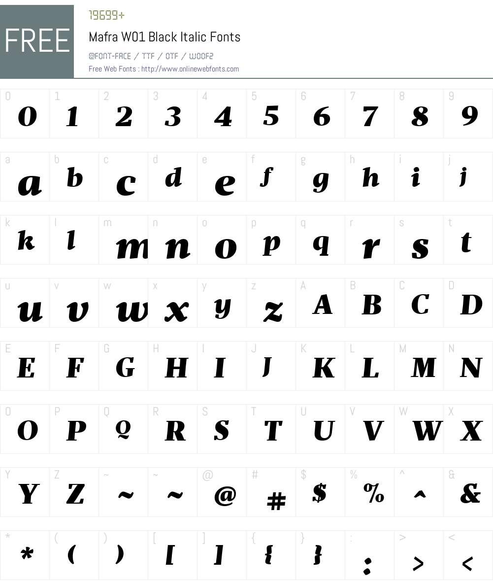 MafraW01-BlackItalic Font Screenshots