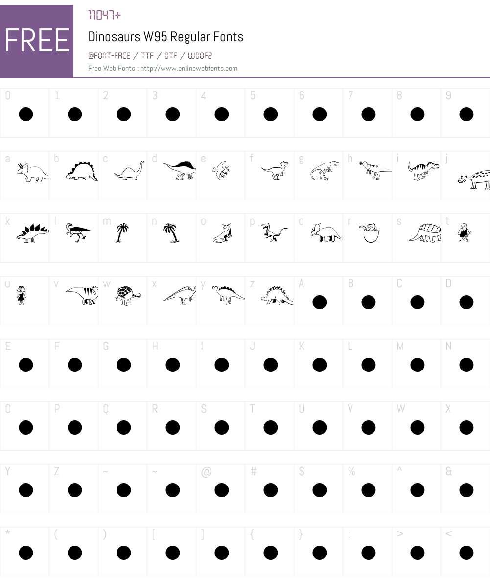 DinosaursW95-Regular Font Screenshots