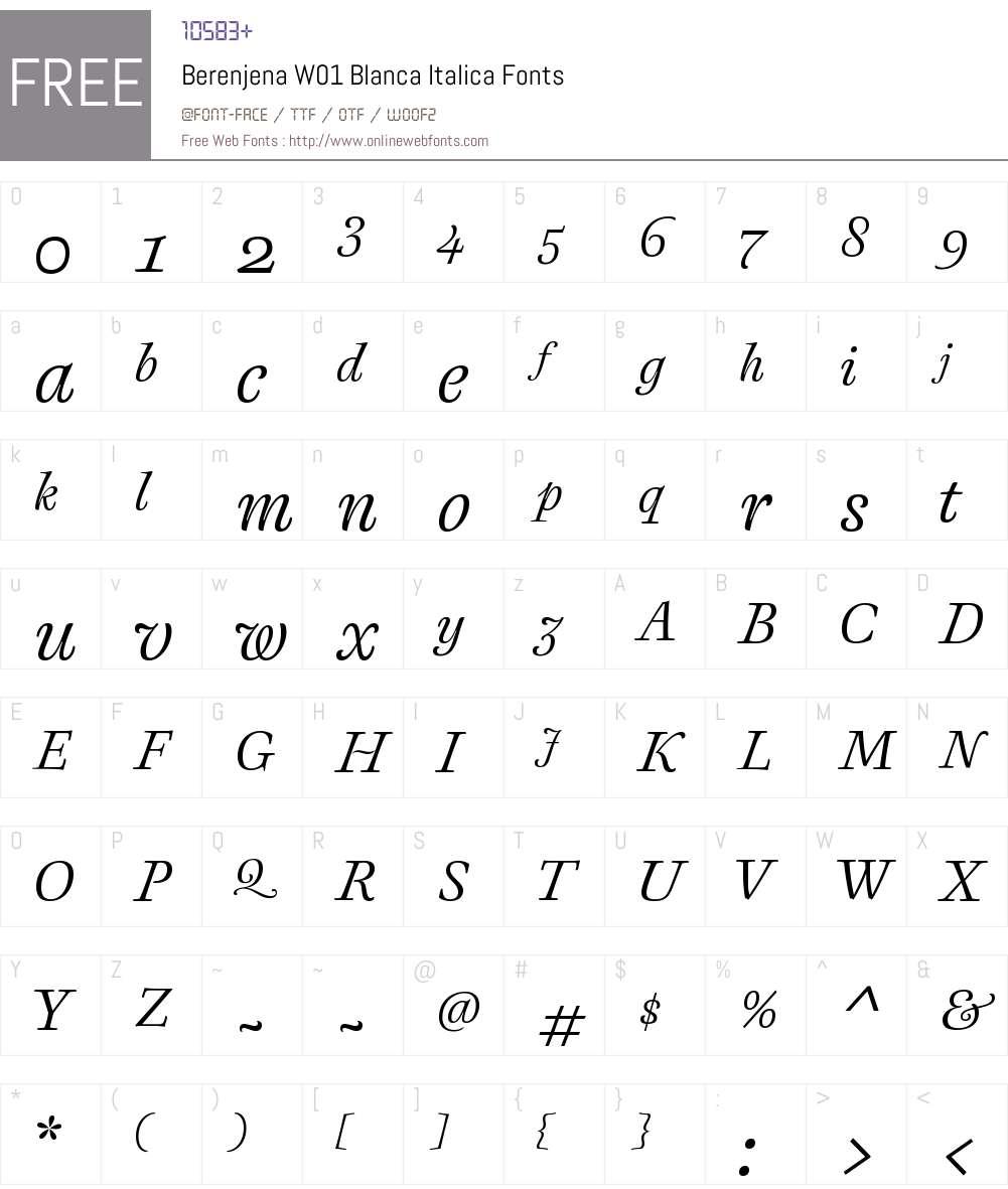 BerenjenaW01-BlancaItalica Font Screenshots