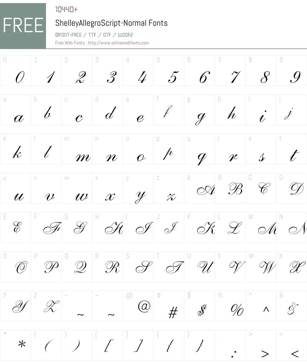 ShelleyAllegroScript-Normal Font Screenshots