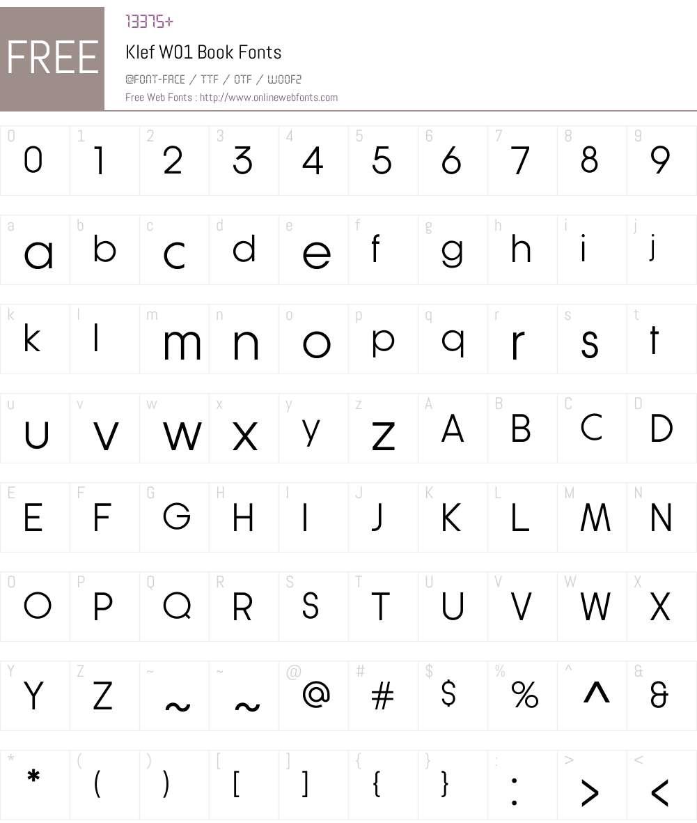 KlefW01-Book Font Screenshots