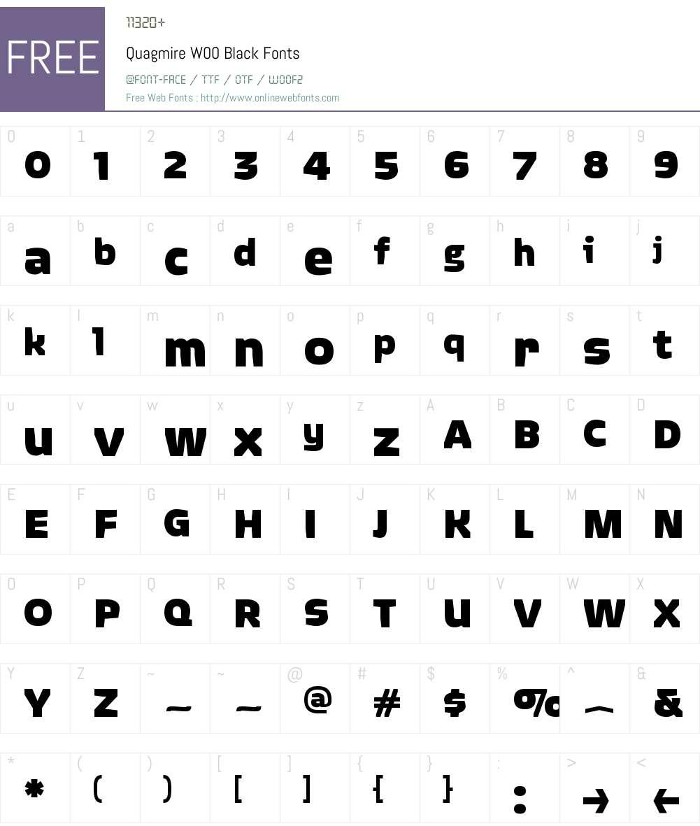 QuagmireW00-Black Font Screenshots