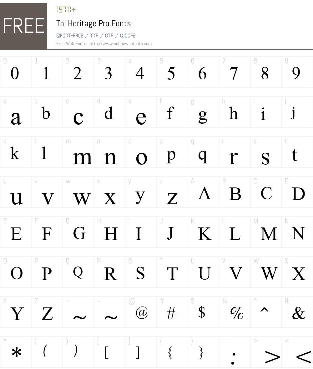 Tai Heritage Pro Font Screenshots