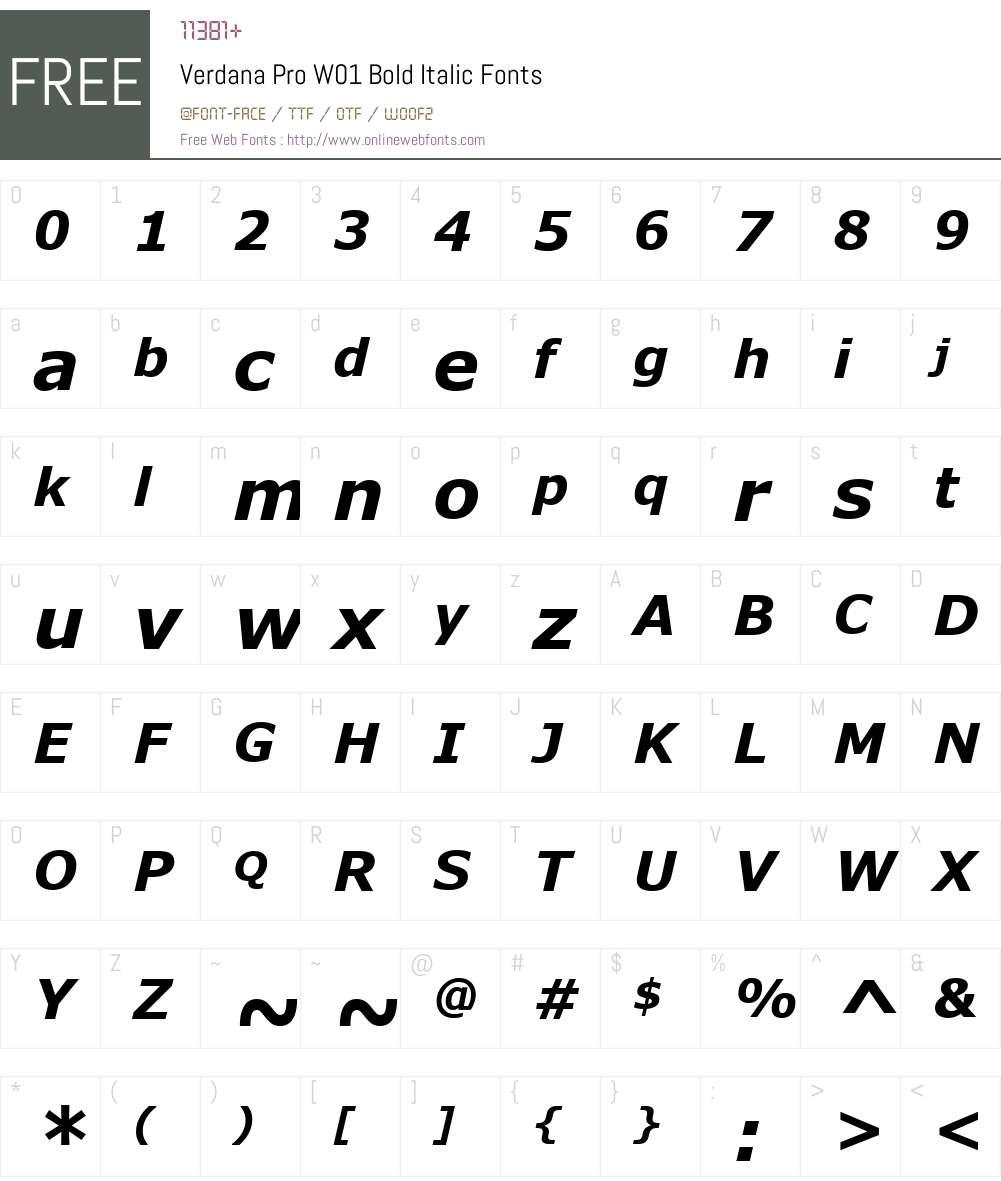 VerdanaProW01-BoldItalic Font Screenshots