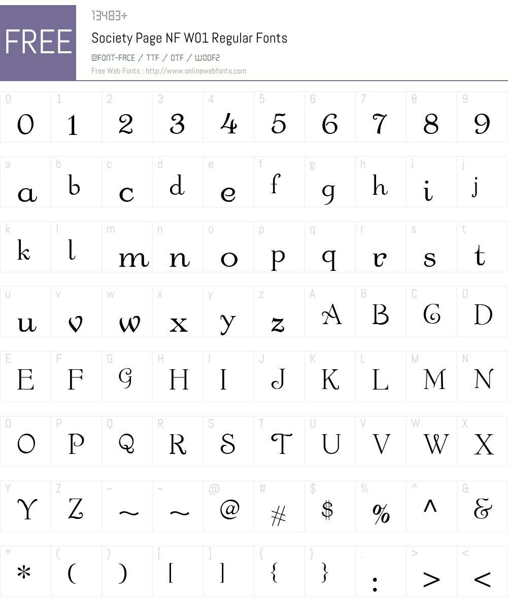 SocietyPageNFW01-Regular Font Screenshots
