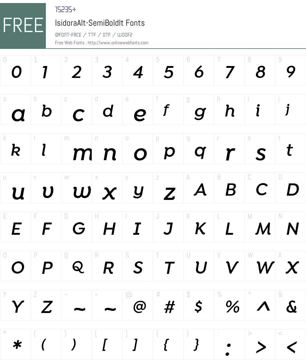 IsidoraAlt-SemiBoldIt Font Screenshots