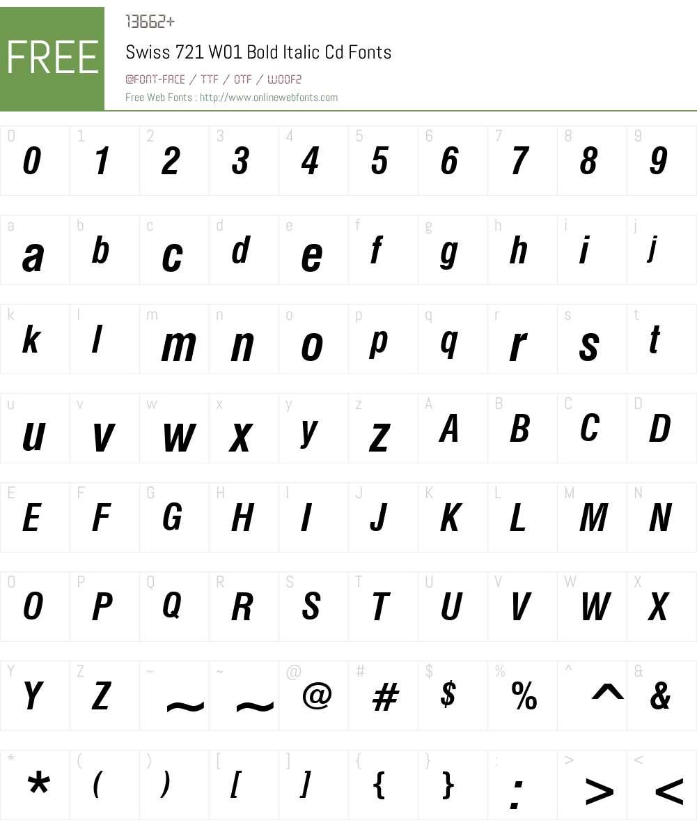 Swiss721W01-BoldItalicCd Font Screenshots