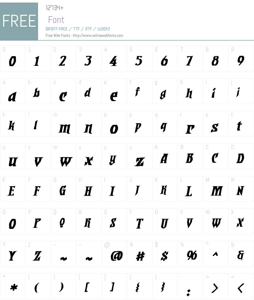 DwarvenAxeBBW00-Italic Font Screenshots