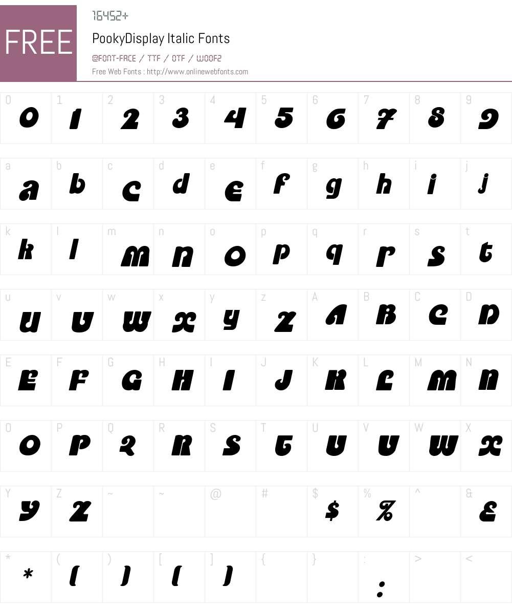 PookyDisplay Font Screenshots