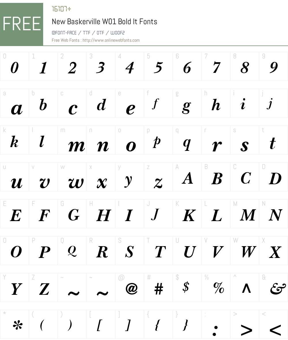 NewBaskervilleW01-BoldIt Font Screenshots