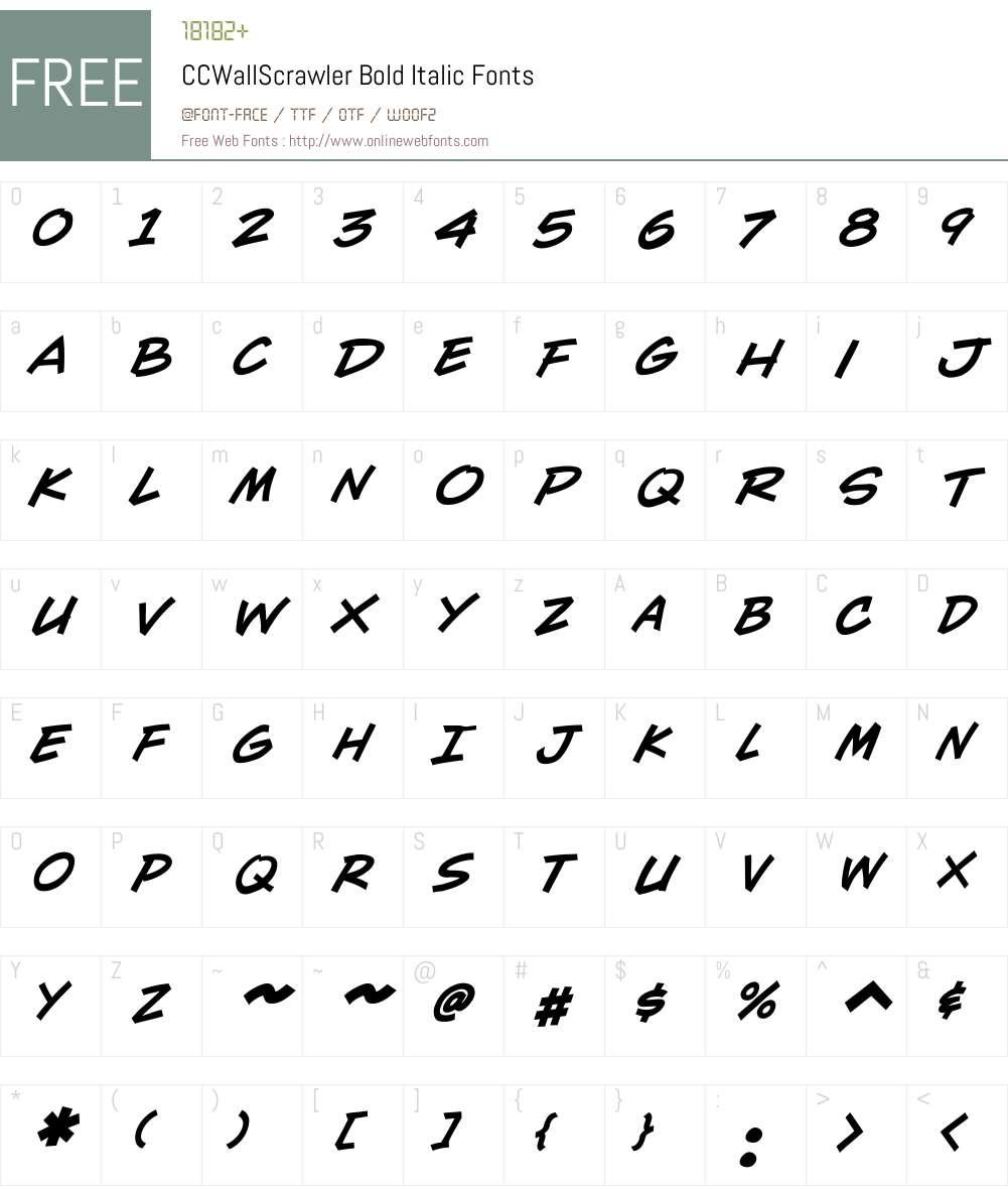 CCWallScrawler-BoldItalic Font Screenshots