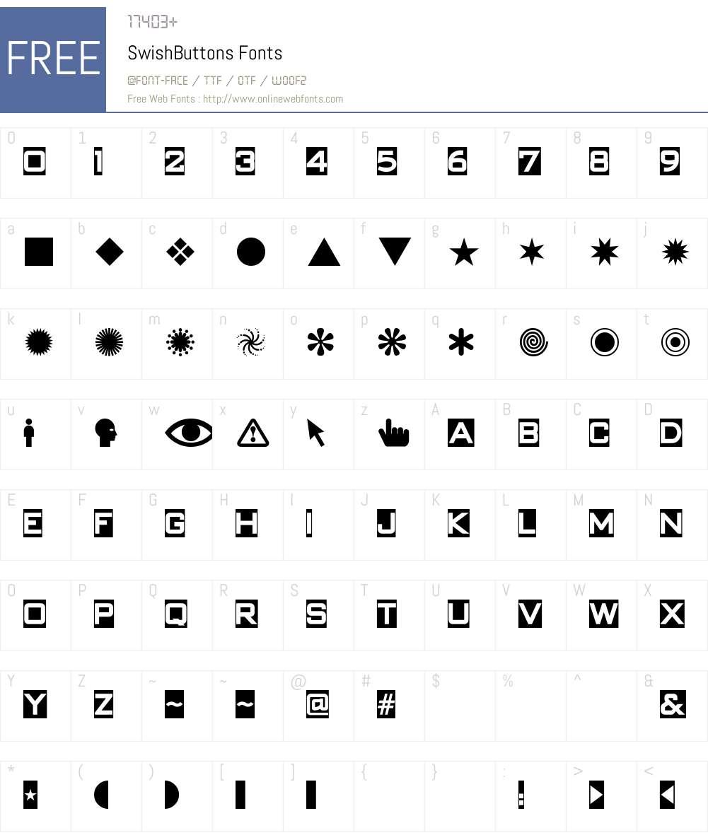 SwishButtons Font Screenshots