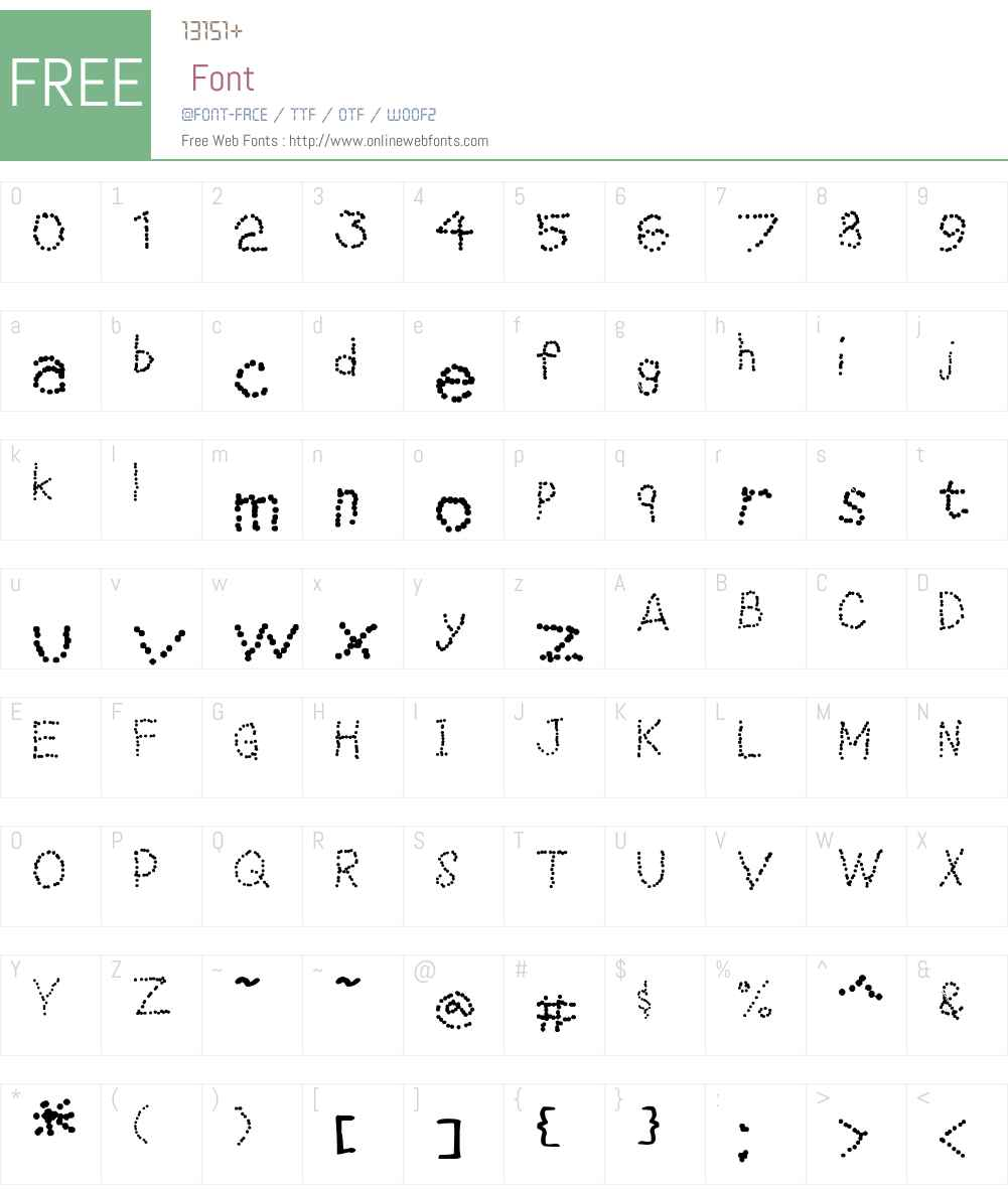 Dotted line Font Screenshots