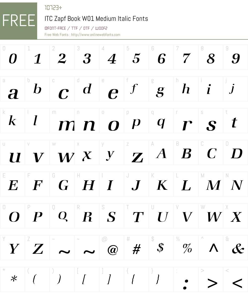 ITCZapfBookW01-MediumItalic Font Screenshots
