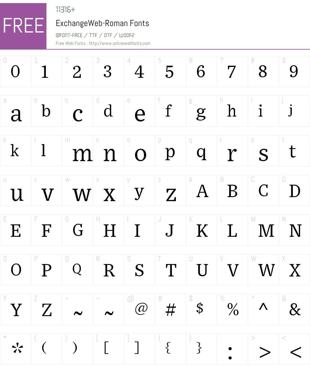 Exchange Web Font Screenshots