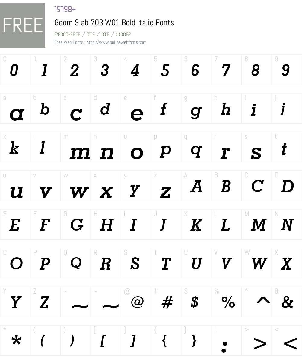 GeomSlab703W01-BoldItalic Font Screenshots
