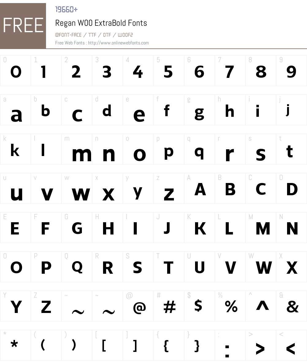 ReganW00-ExtraBold Font Screenshots