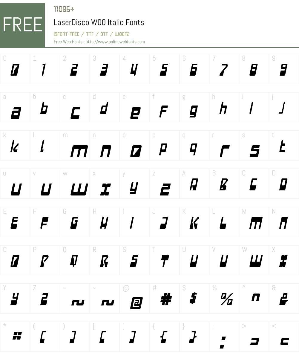LaserDiscoW00-Italic Font Screenshots