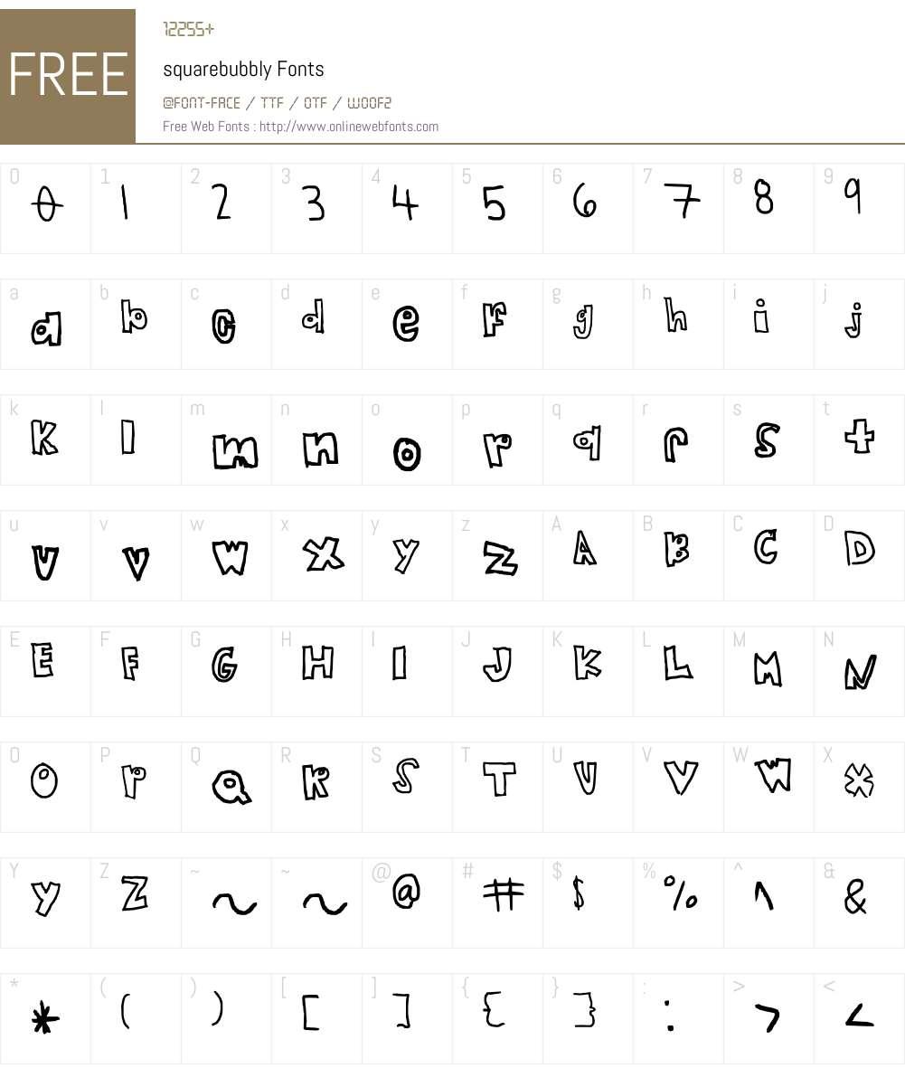 squarebubbly Font Screenshots