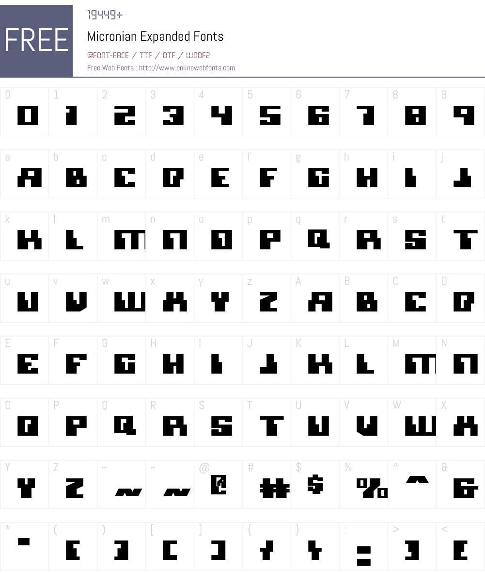 Micronian Expanded Font Screenshots