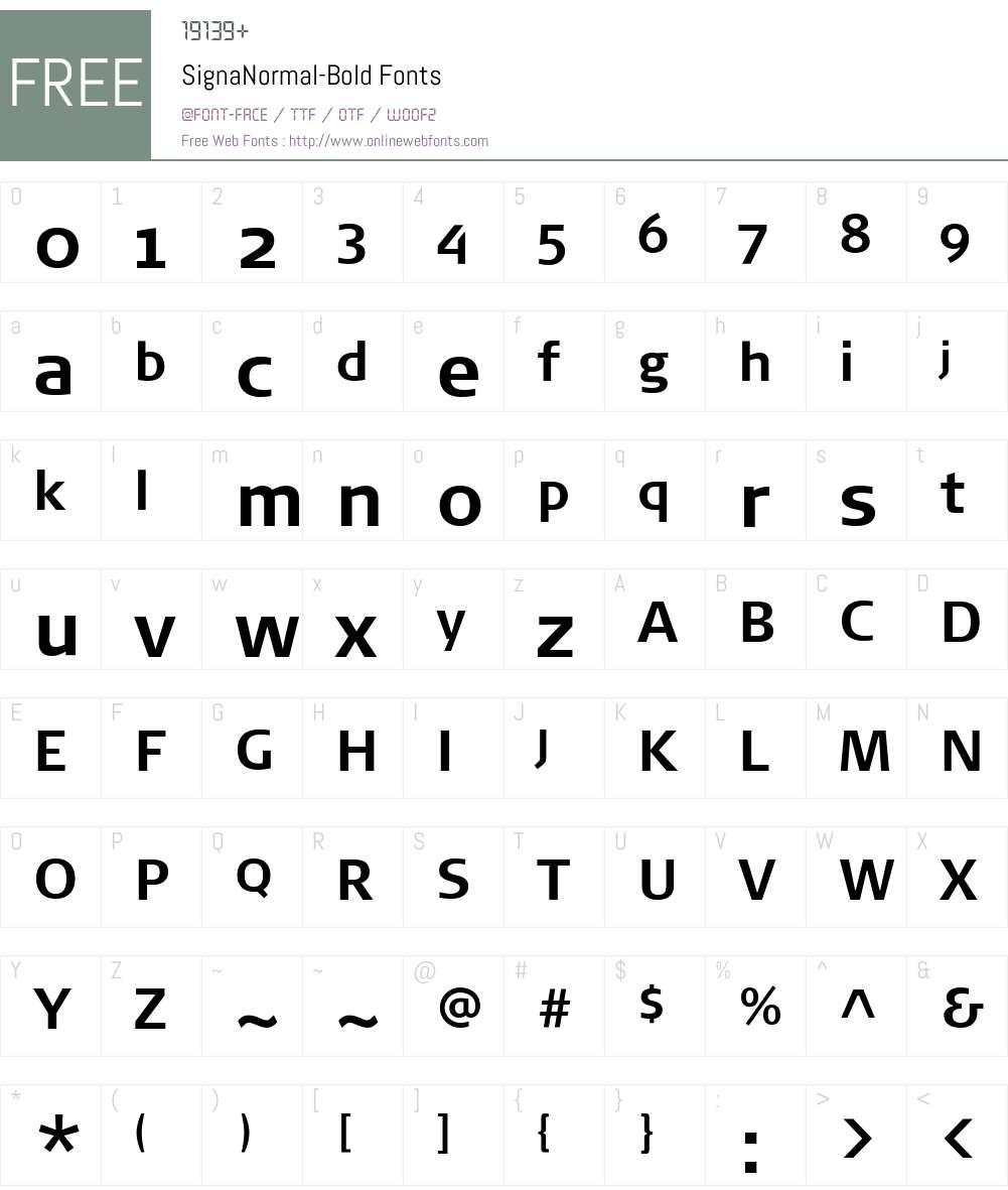 SignaNormal-Bold Font Screenshots