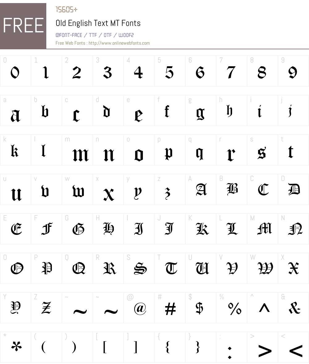 Old English Text MT Font Screenshots