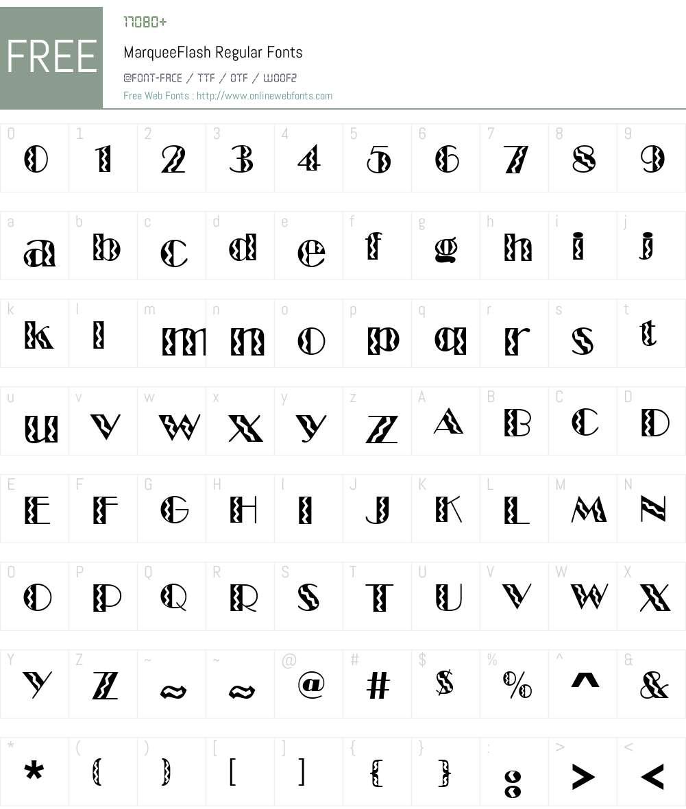 MarqueeFlash Font Screenshots