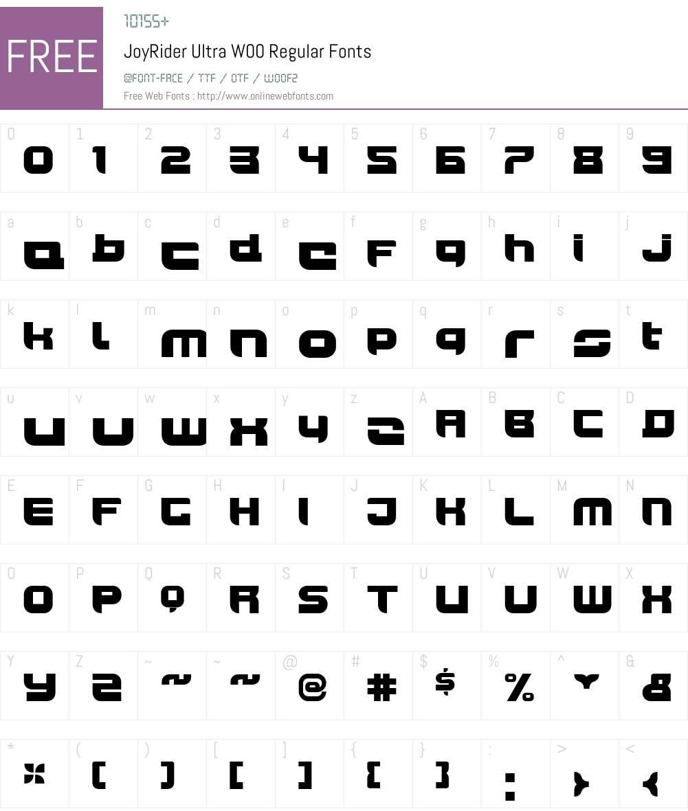 JoyRiderUltraW00-Regular Font Screenshots