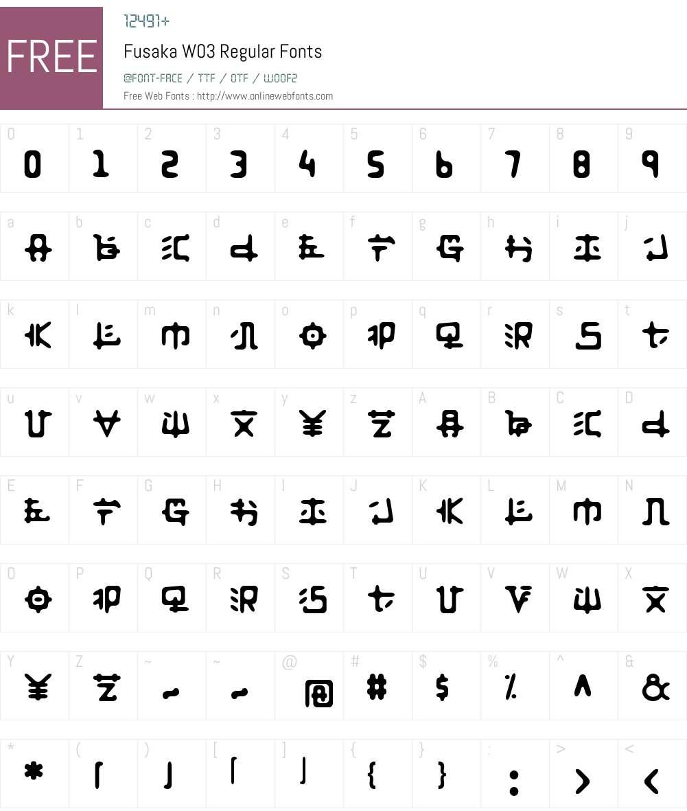 FusakaW03-Regular Font Screenshots