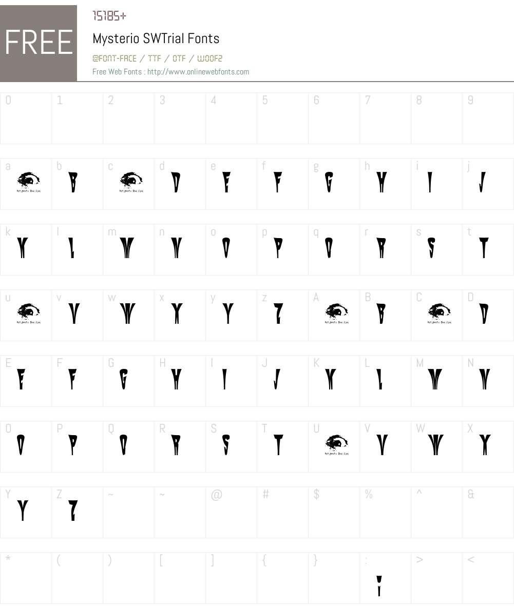 Mysterio SWTrial Font Screenshots