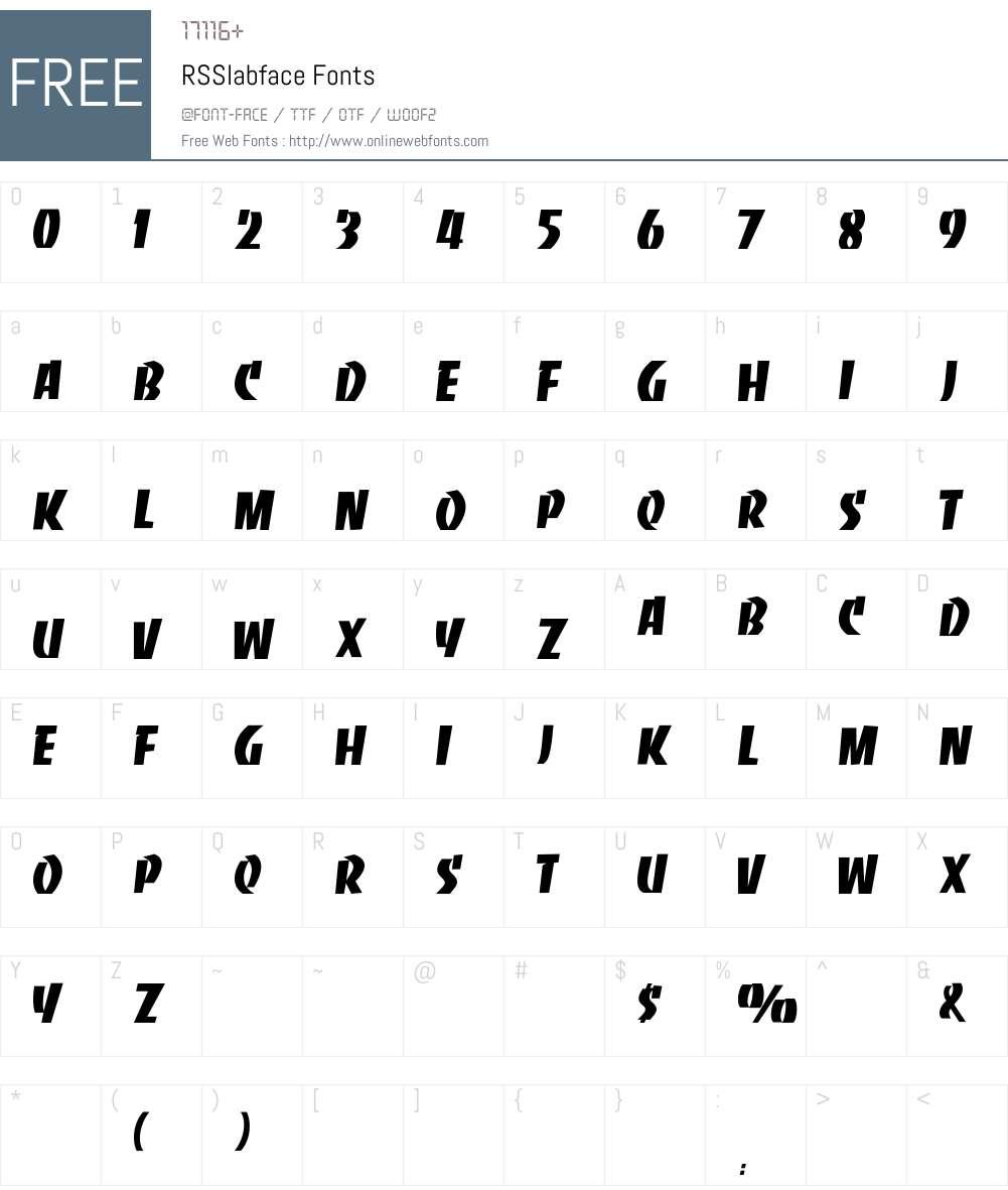 RSSlabface Font Screenshots