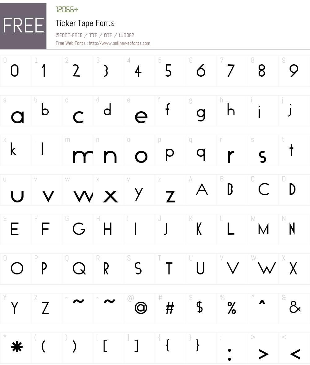 Ticker Tape Font Screenshots