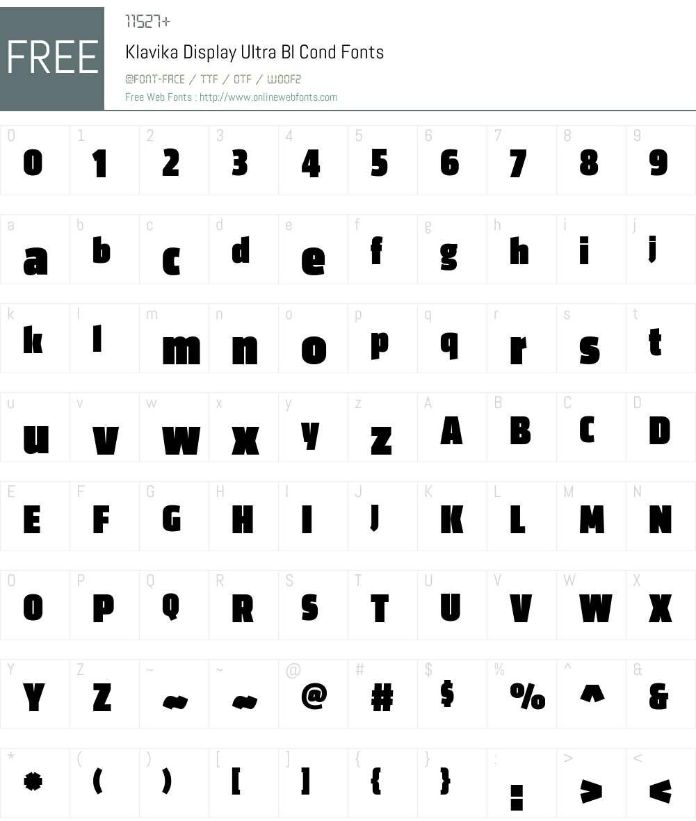 Klavika Display Ultra Bl Cond Font Screenshots