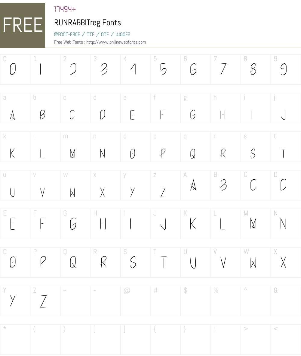 RUNRABBIT Font Screenshots