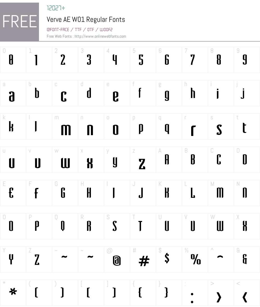 VerveAEW01-Regular Font Screenshots