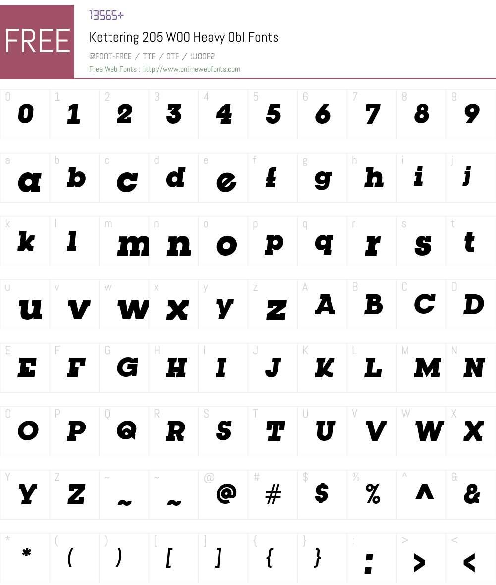 Kettering205W00-HeavyObl Font Screenshots