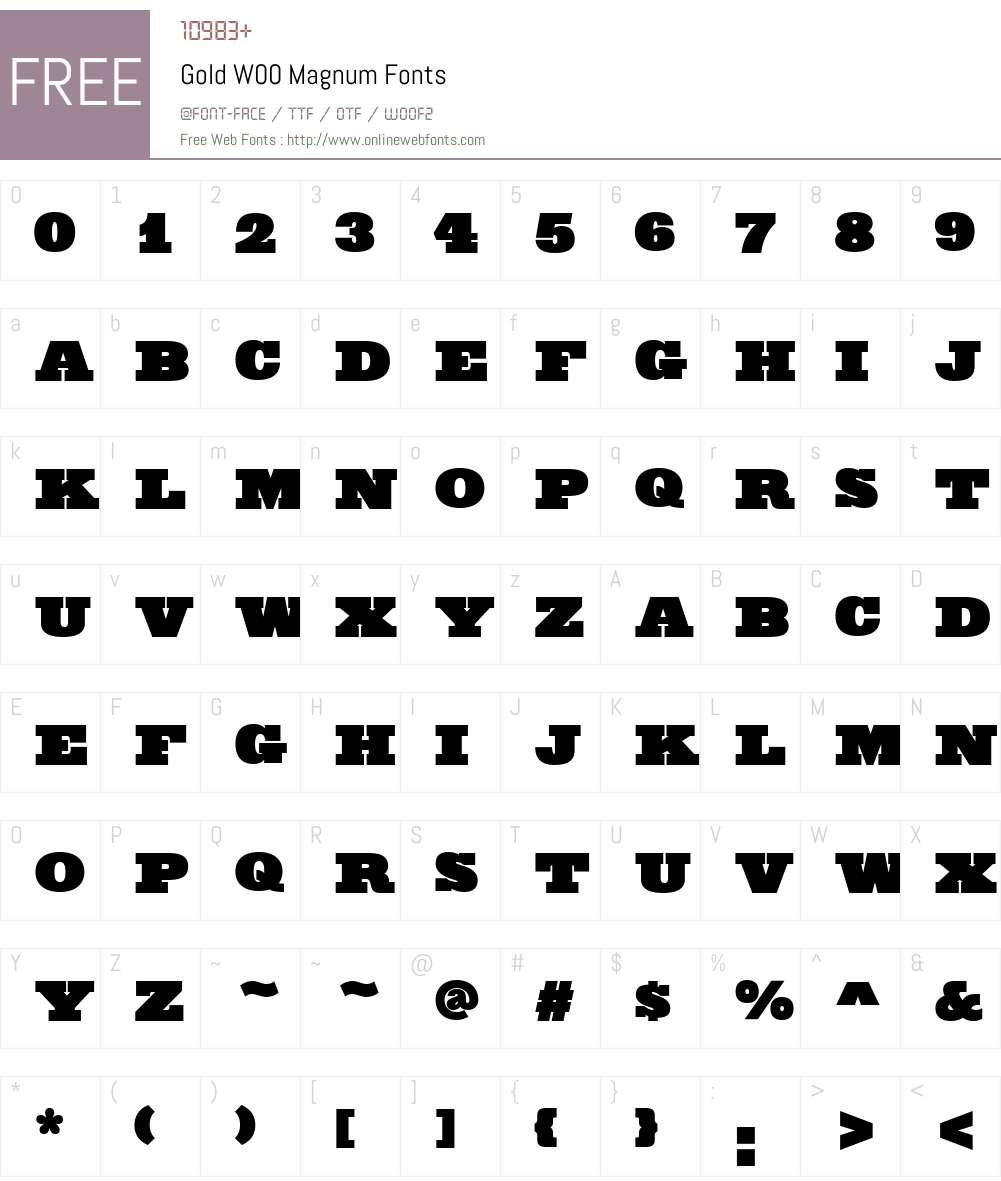 GoldW00-Magnum Font Screenshots