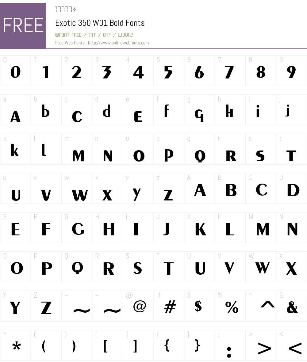 Exotic350W01-Bold Font Screenshots