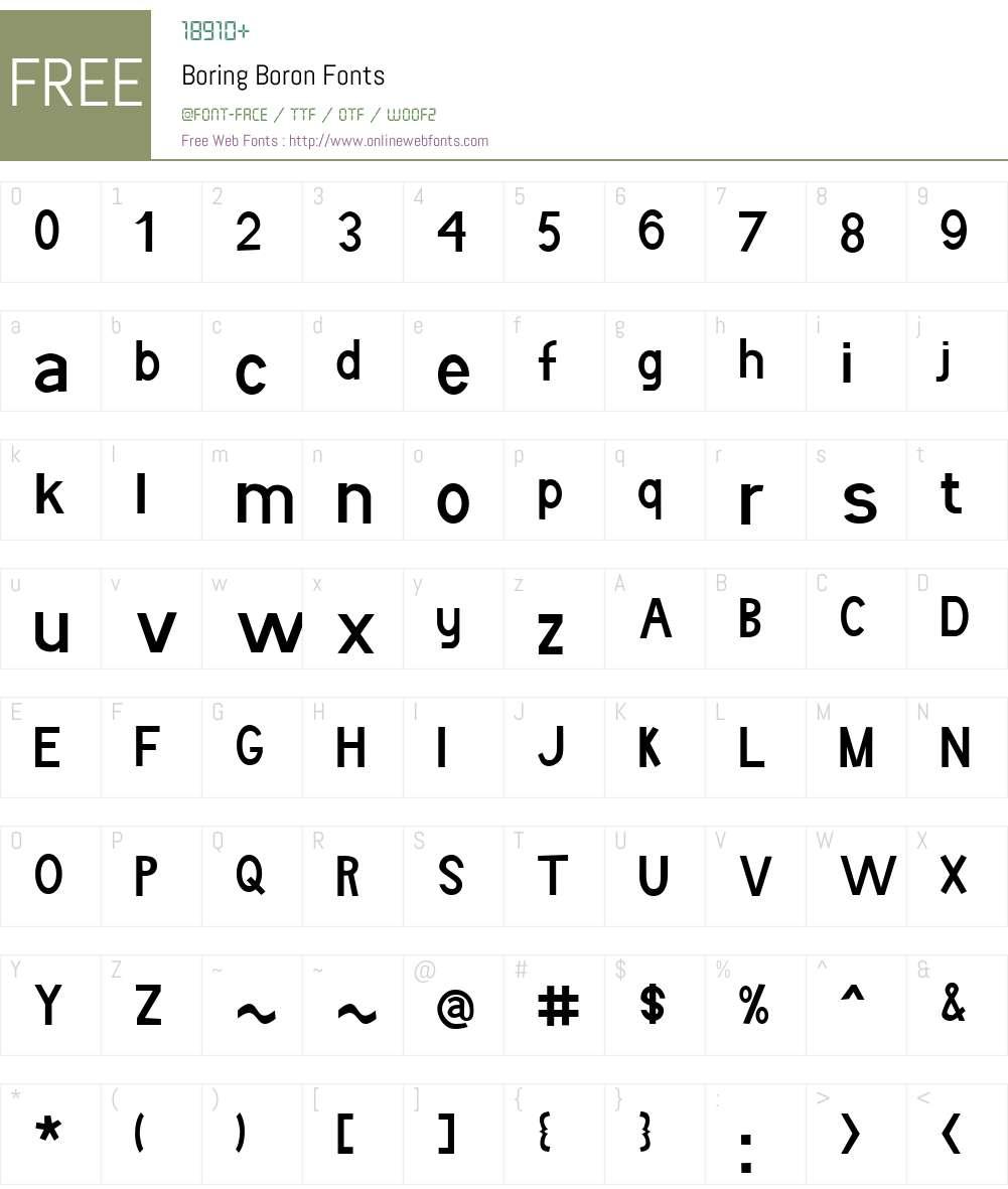 Boring Boron Font Screenshots