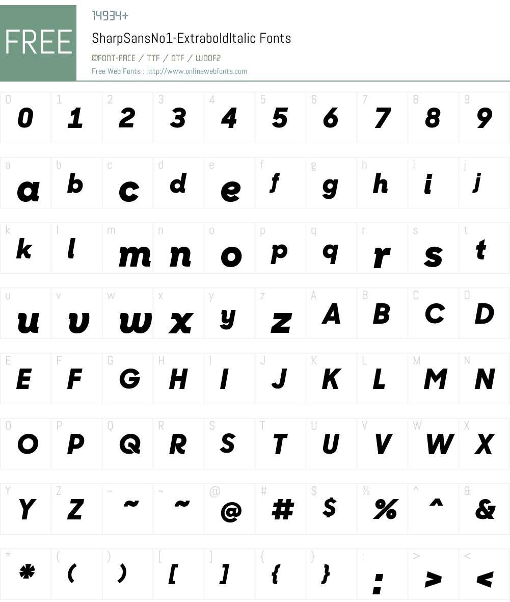 Sharp Sans No1 Extrabold Italic Font Screenshots