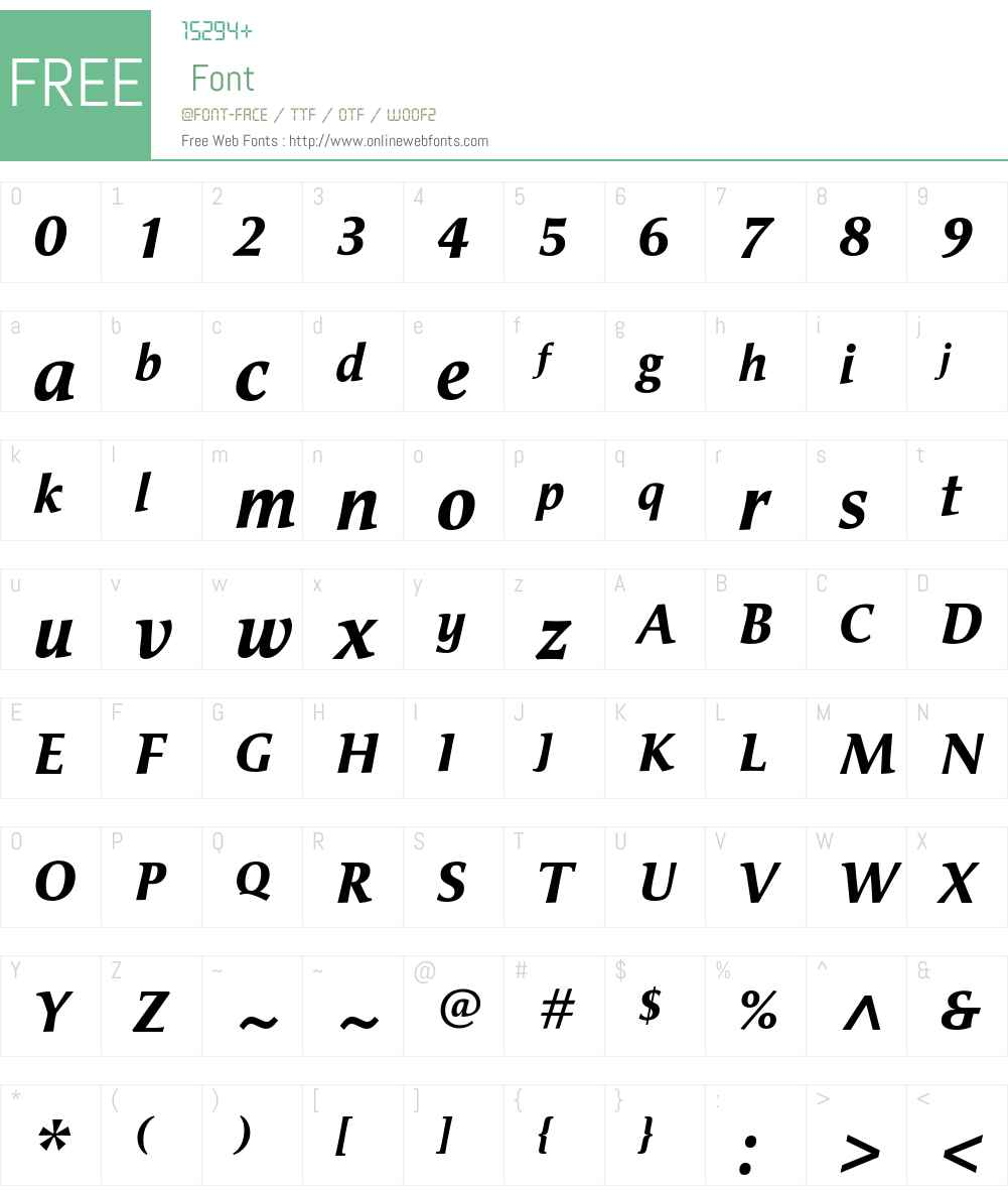 CiceroW00-BoldItalic Font Screenshots