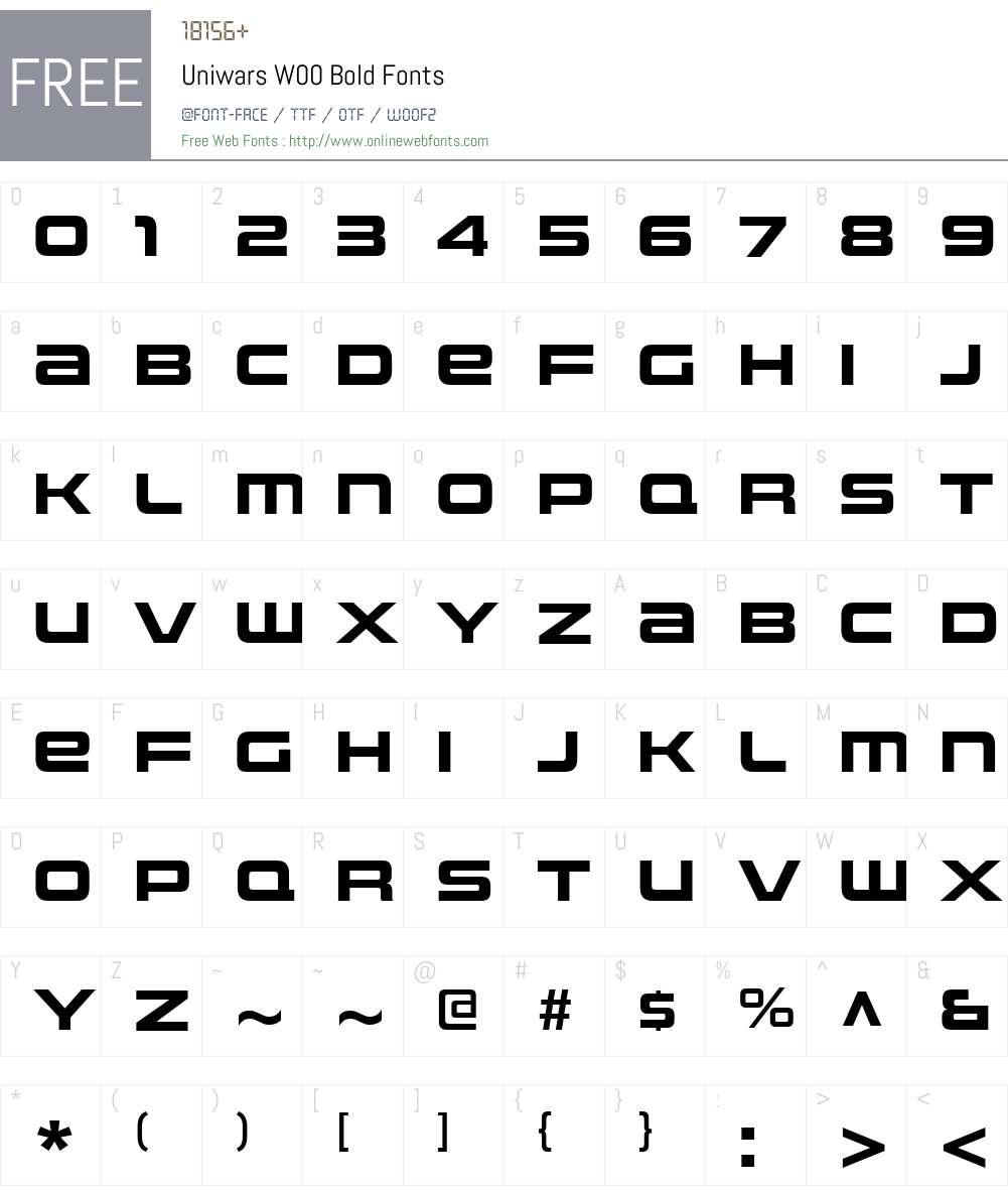 UniwarsW00-Bold Font Screenshots