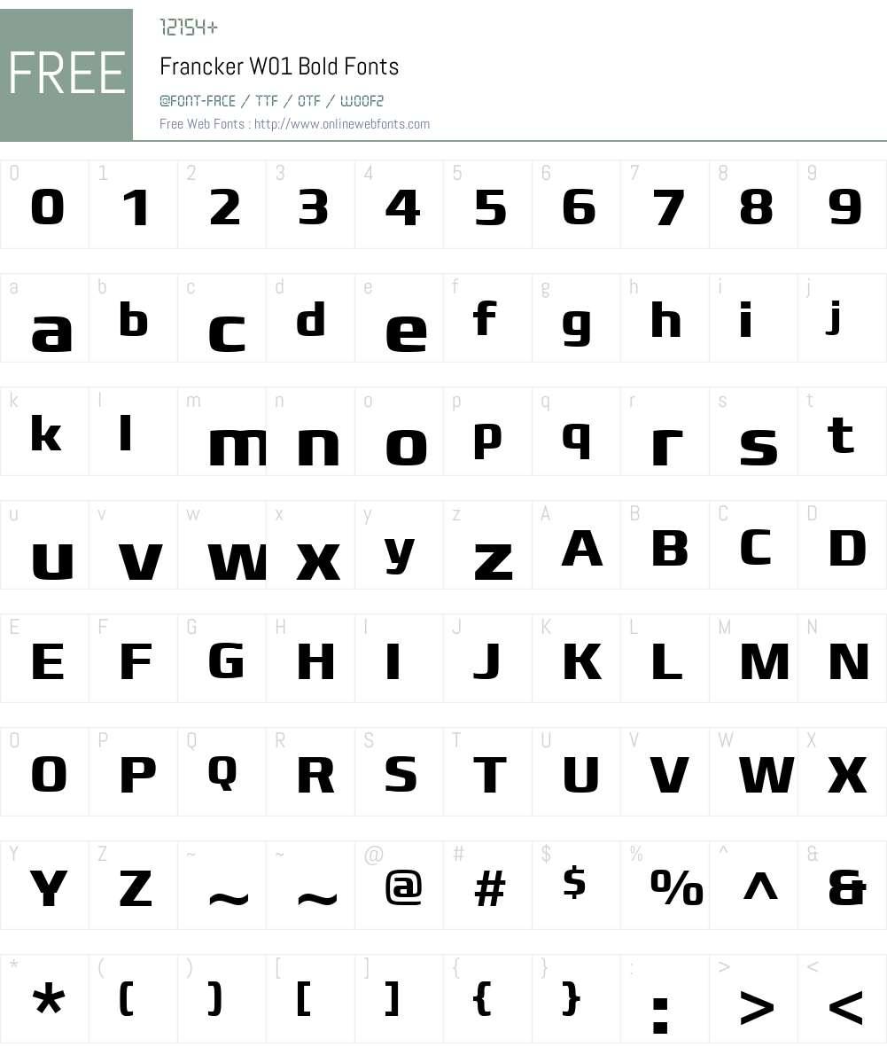 FranckerW01-Bold Font Screenshots