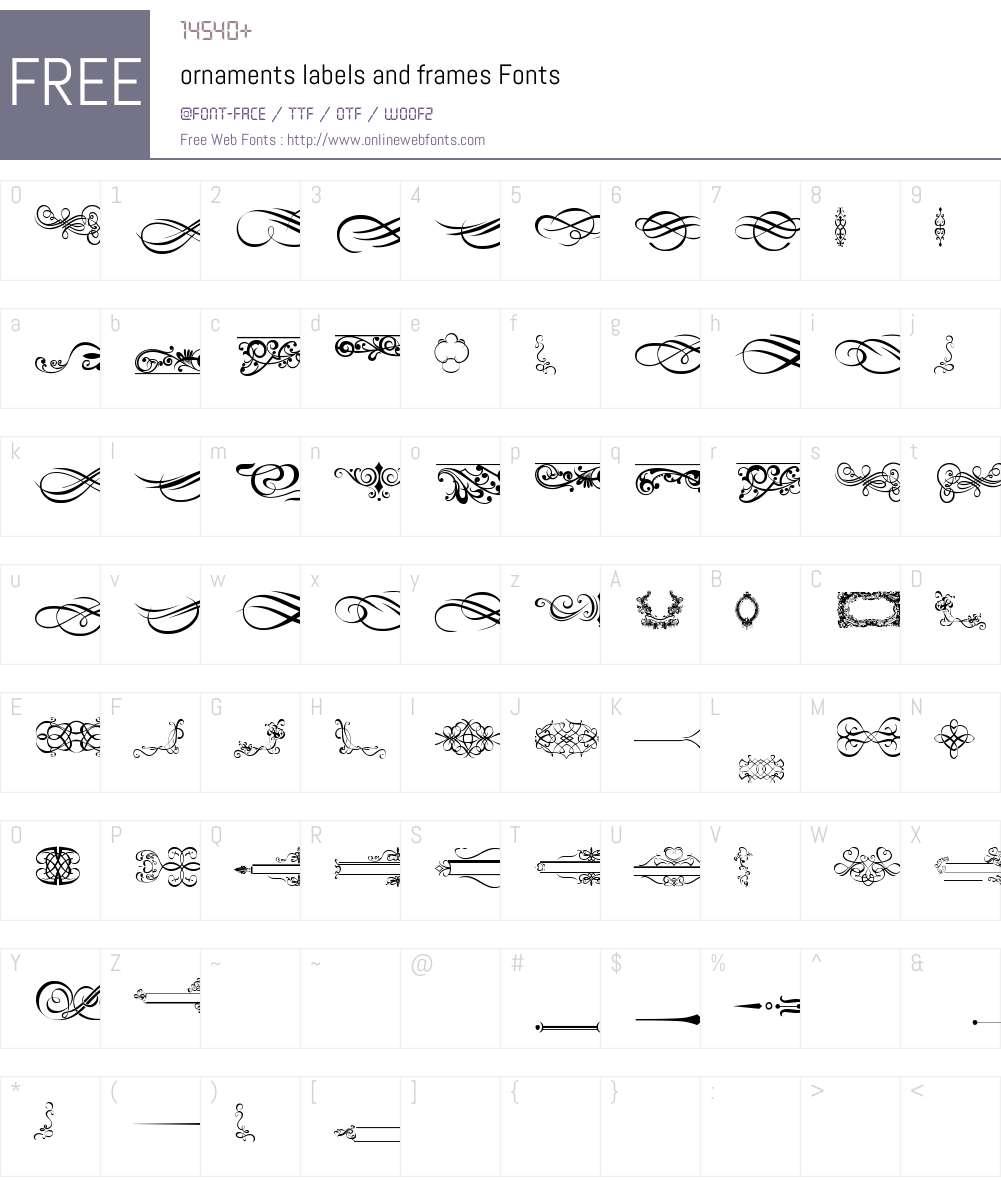 ornaments labels and frames Font Screenshots