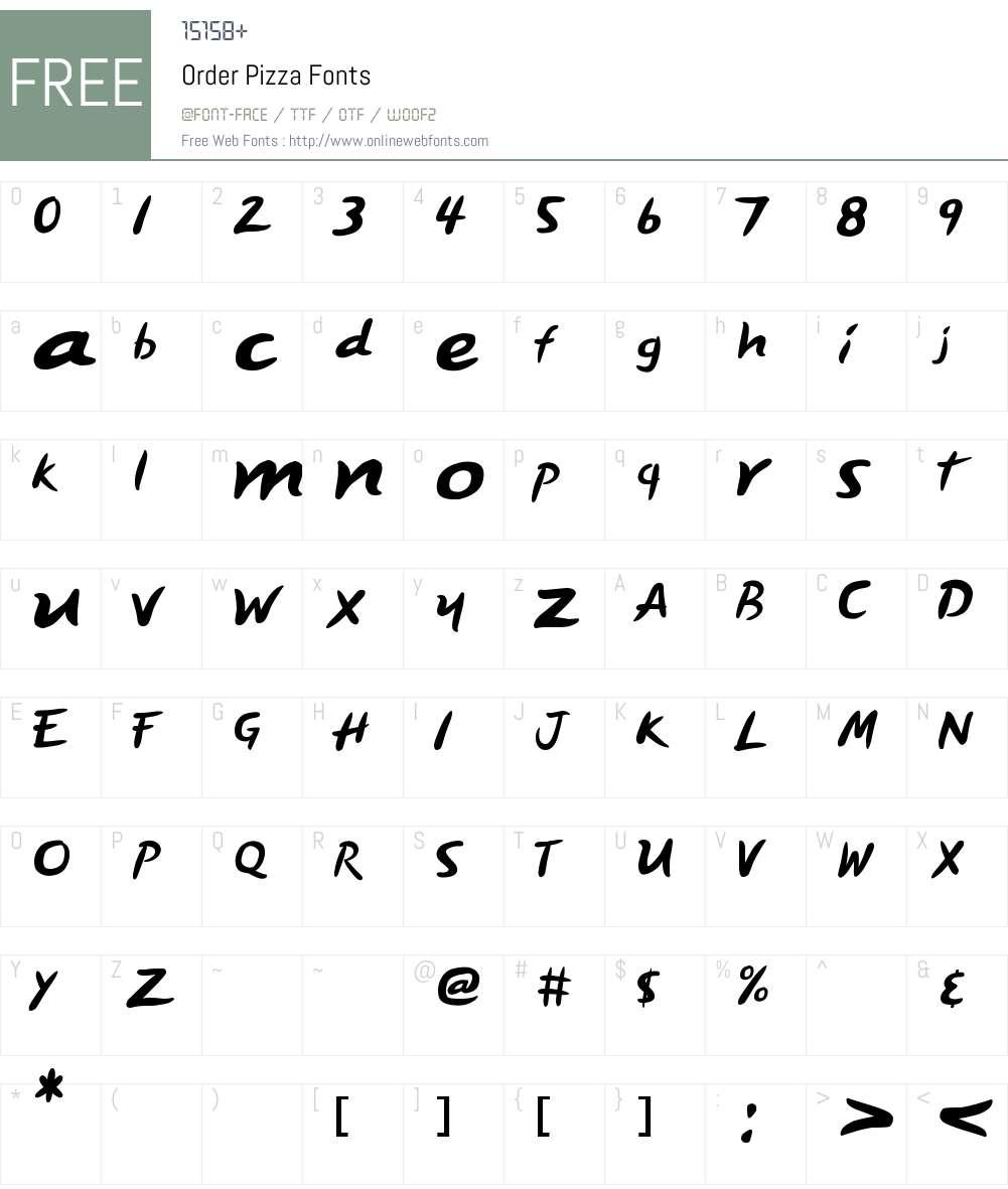 Order Pizza Font Screenshots