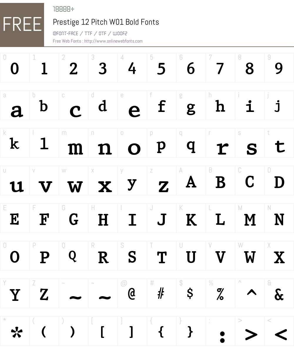Prestige12PitchW01-Bold Font Screenshots